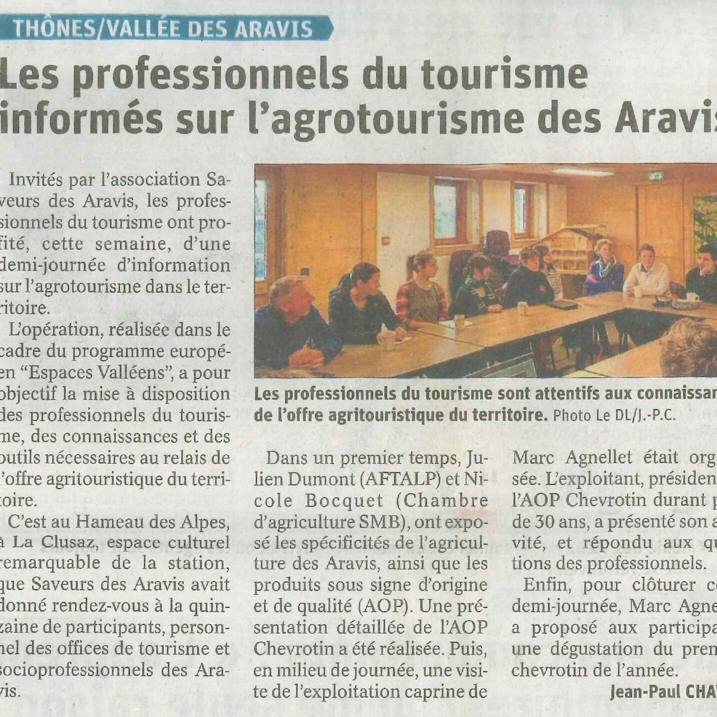 19.01.2020 - LE DAUPHINE - LES PROFESSIONNELS DU TOURISME INFORMES SUR L'AGROTOURISME DES ARAVIS
